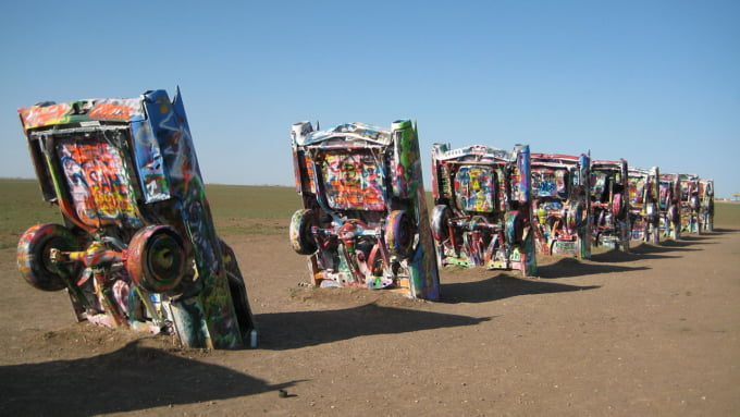 Cadillac Ranch well known attraction in Amarillo Texas