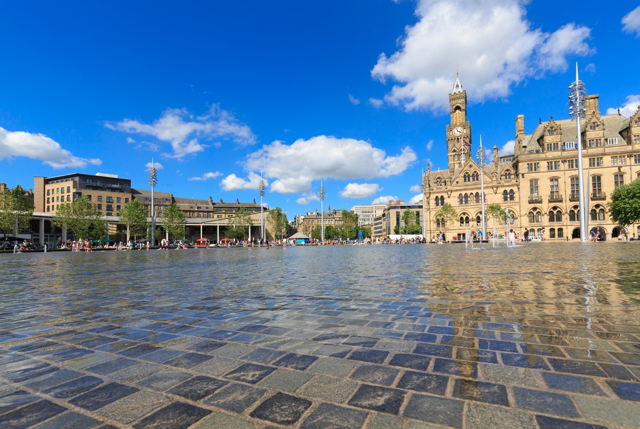 Bradford (UK) : A City Known for Its Urban Girt Mill Chimneys and Its Grand Victorian Structures, a Metropolitan Borough of West Yorkshire