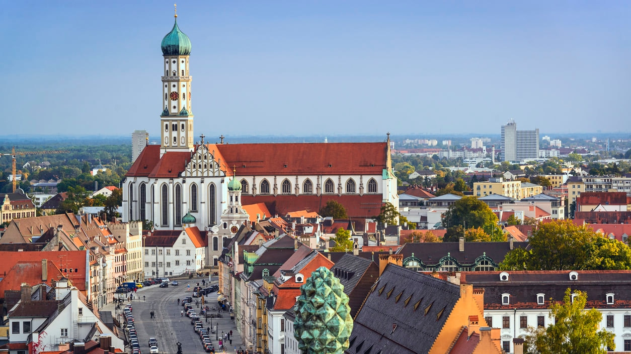 Augsburg : Bavaria's Third Largest City with Vintage Styled Urban Plans and Buildings