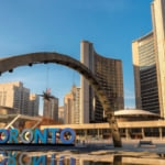 View of Nathan Phillips Square and Toronto Sign in downtown area