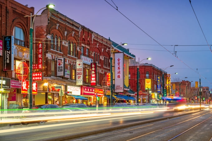 Chinatown in downtown Toronto, lively area in Canada