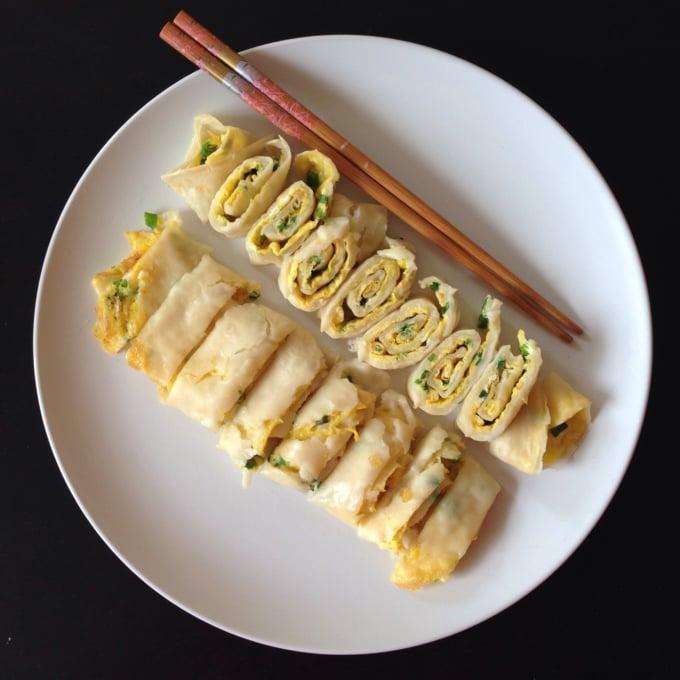 Taiwanese egg crepe or egg wrap known as dan bing