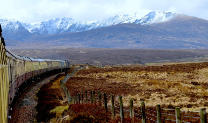 Kyle Line train in Scotland from Inverness to Kyle scenery