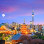View of Tokyo Skyline and Skytree from Asakusa in Japan
