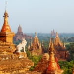 Incredible view and details of ancient temples in Bagan, Myanmar