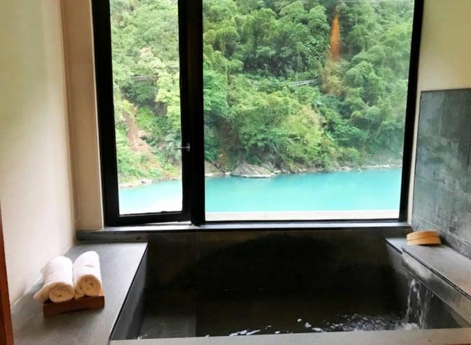 Private Hot Spring Bath at resort in Wulai in Taiwan