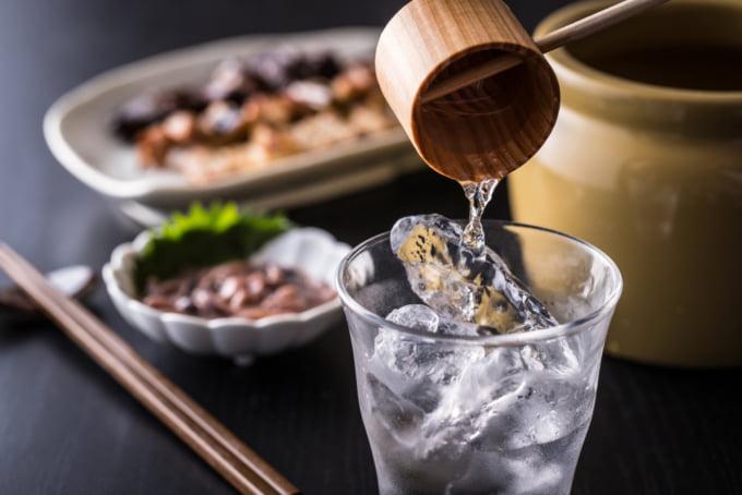 Shochu, a Japanese alcohol stronger than sake, traditional preparation