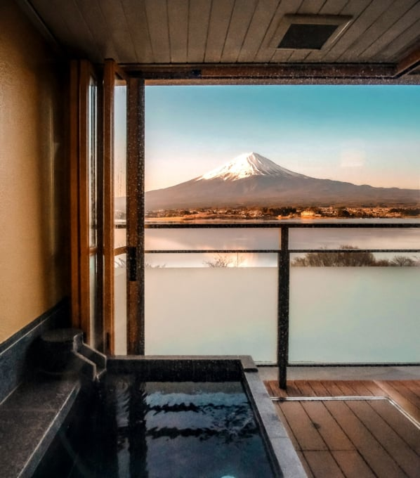Beautiful ryokan traditional Japanese hotel with gorgeous view of Mount Fuji from room