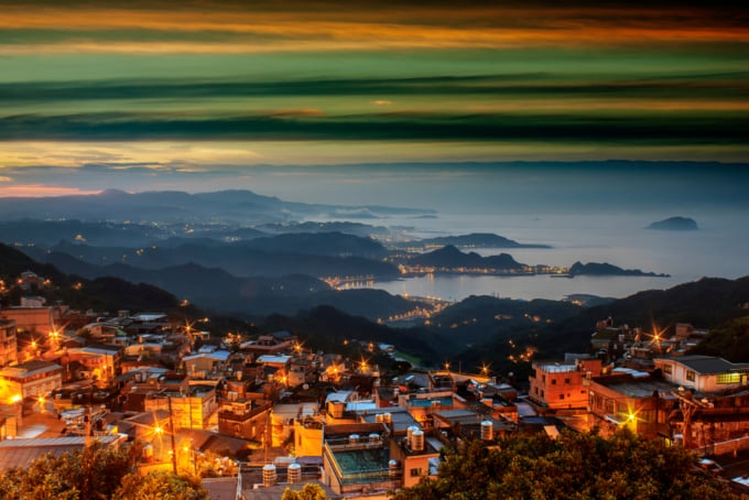 Sunset view of Jiufen,a popular town in the mountains of North Taiwan