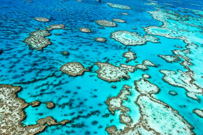 Incredible aerial view over the Great Barrier Reef in Queensland, Australia.