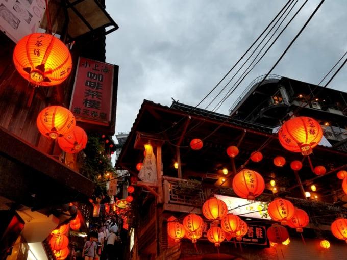 Chinese red lanterns lit up in Jiufen, Taiwan