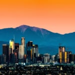 View of Downtown Los Angeles skyline during sunset