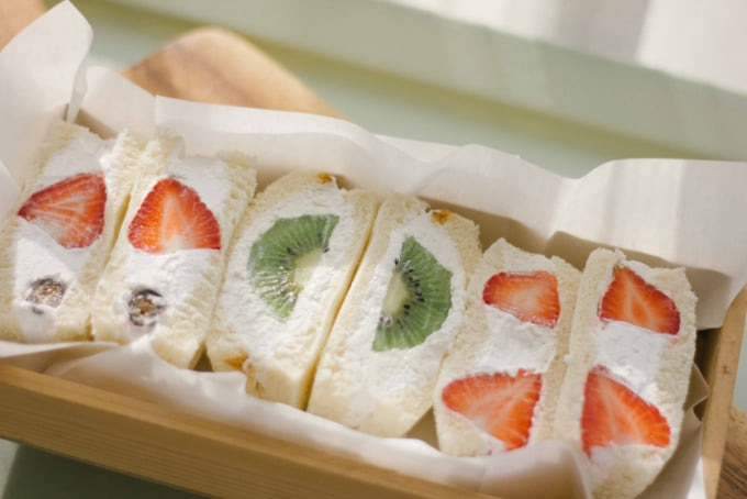 Japanese fruit sandwich or fruits sando filled with whipped cream