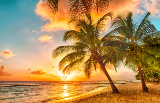 Incredible view of Barbados, beach at sunset