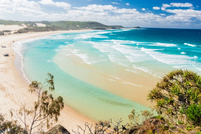 Incredible view of Fraser Island's sandy beach