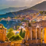 Beautiful view of the Ruins of Taormina Theater, Sicily, Italy