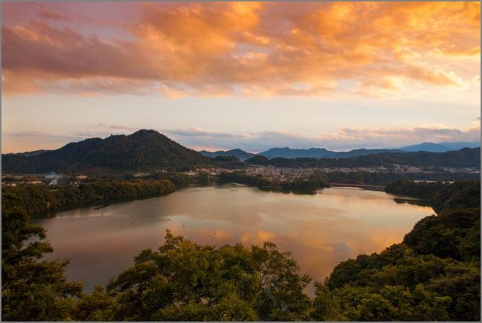Stunning view of Sagami Lake, Japan