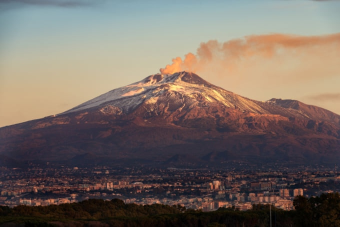 View of Mt Etna on Italy's southern island of Sicily