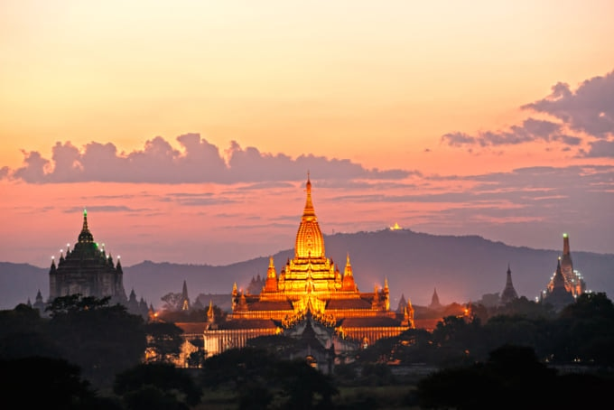 The Ananda Pahto, beautiful temple in Bagan at sunset