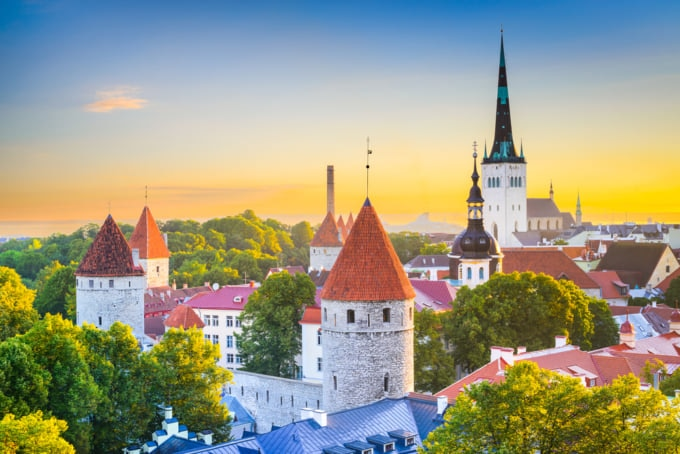 Incredible view of the old city of Tallinn, Estonia