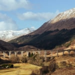 The Glenfinnan Viaduct, west highland railway in Scotland