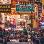 Hong Kong Street Scene, Mongkok District with buses
