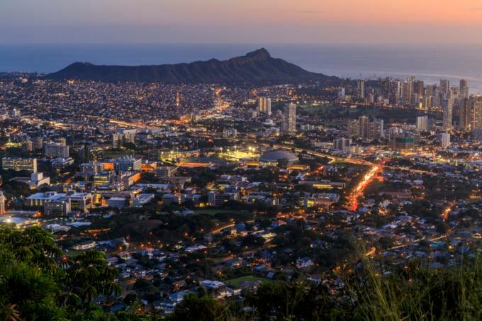 beautiful view of Honolulu, Oahu from Tantalus