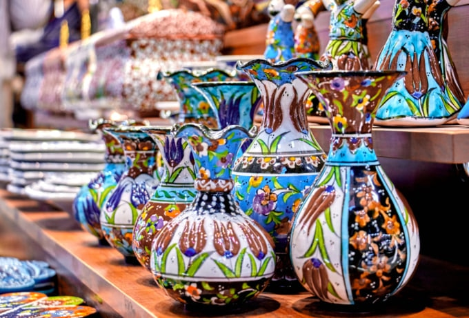 Colorful pottery on sale at the Grand Bazaar in Istanbul