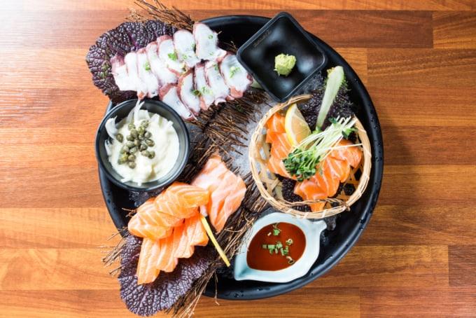 delicious seafood sashimi plate in Busan, South Korea