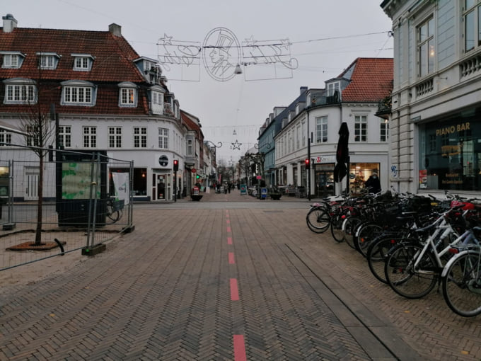 pedestrian shopping streets empty in Odense