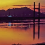 Beautiful sunset view of Tamsui in Taiwan