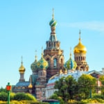 Beautiful view of Church of the Resurrection of Christ St Petersburg, Russia
