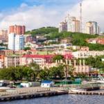 Beautiful unique view of Vladivostok city, Russia