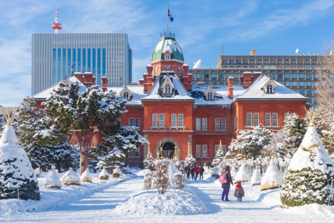 Beautiful view of Sapporo in the winter, Japan's northern city