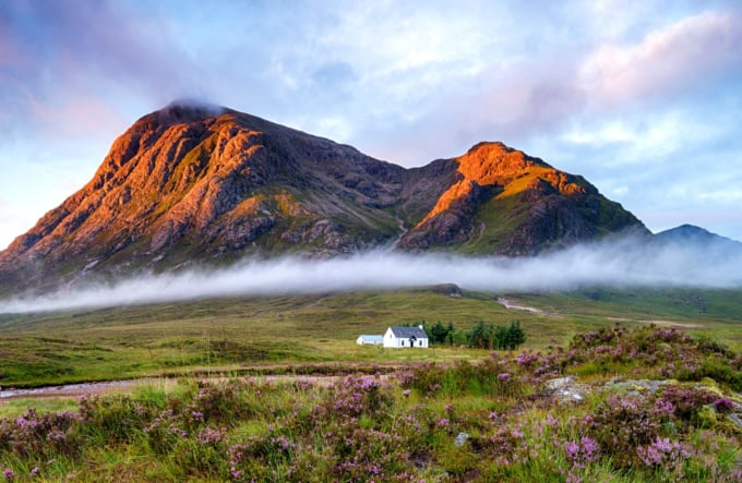 Small house or bothy in Scotland, beautiful scenery