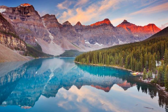 Moraine Lake at sunrise in Banff National Park, Canada