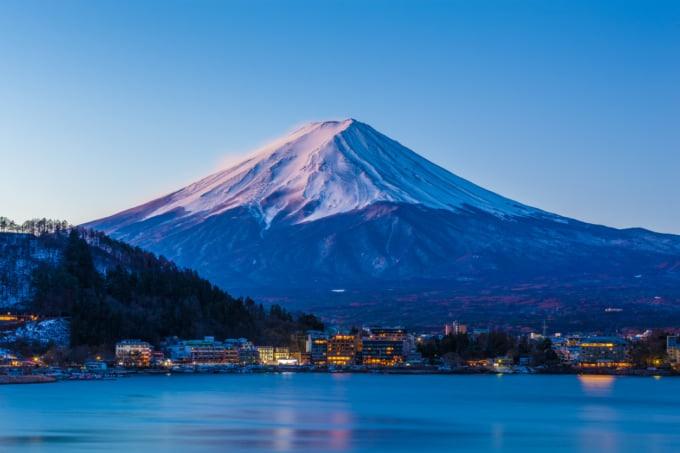 Mount Fuji at dawn from Fuji Lake Kawaguchi during winter