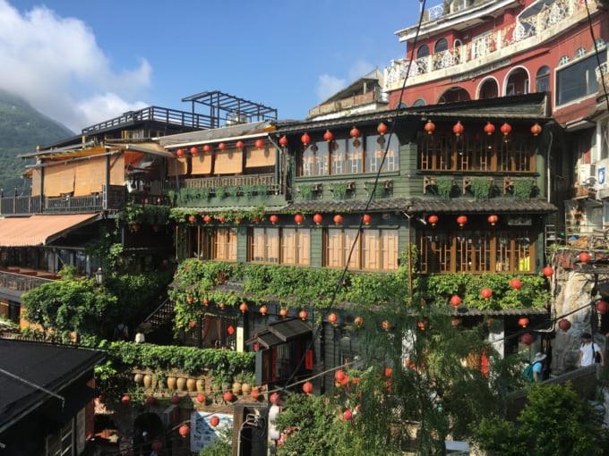 Beautiful view of taiwan tea house in Jiufen, popular attraction in Taiwan