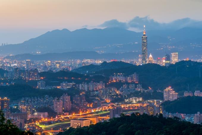 view of Taipei skyline from Maokong