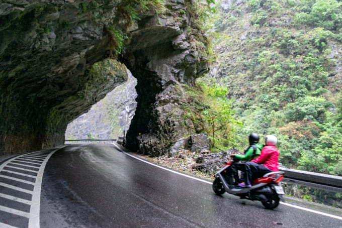 Driving by scooter along Taroko Gorge Road in Taiwan