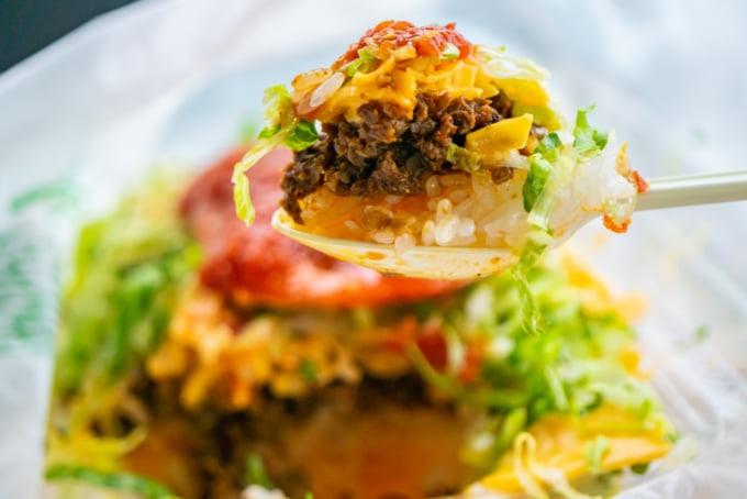Okinawan Food, taco rice, popular food in Naha